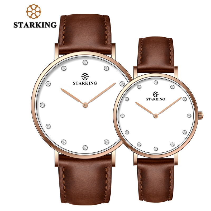 STARKING Luxury Casual New Relogio Couple Watches Pair Men And Women Quartz Slim Simple Style Leather Wrist Watch Hodinky Clock