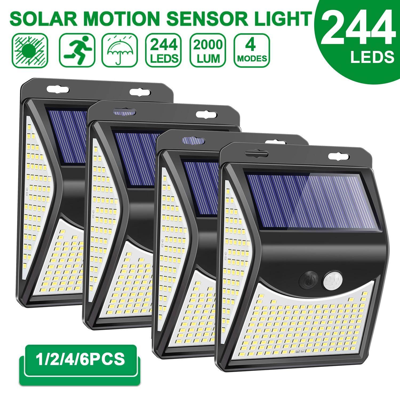244 222 LED Solar Light Outdoor  4 Modes Motion Sensor PIR Wall Light Waterproof Solar Lamp Solar Powered Sunlight Garden