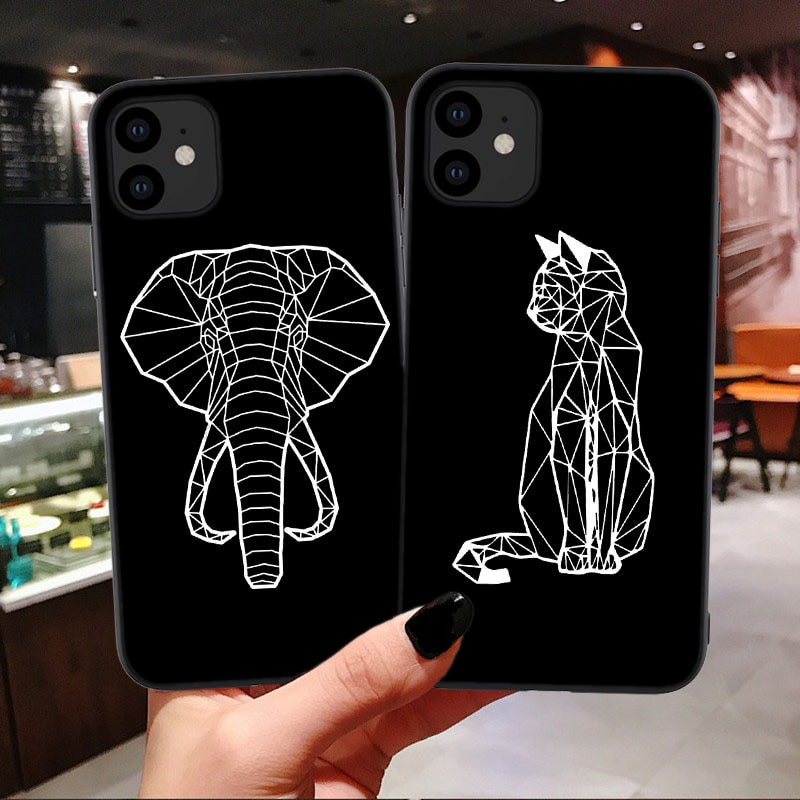 Animal line Art Silicone Cover For iPhone 11 Pro Max Black Funny Abstract Case For iPhone 12mini SE 2020 6s 7 8 Plus X XR XS Max