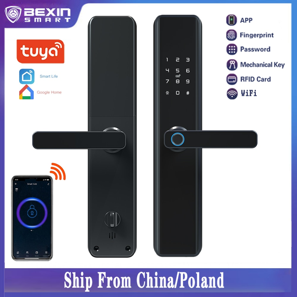 Promo Tuya Waterproof  Wifi Fingerprint Smart Lock Electronic Intelligent Biometric Code Digital Door Lock