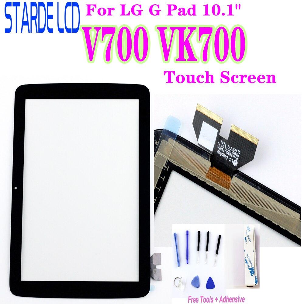 "Táctil de cristal para LG G Pad 10,1 ""V700 VK700 pantalla táctil de cristal digitalizador de Panel Lente de Cristal frontal Sensor no LCD con herramientas"