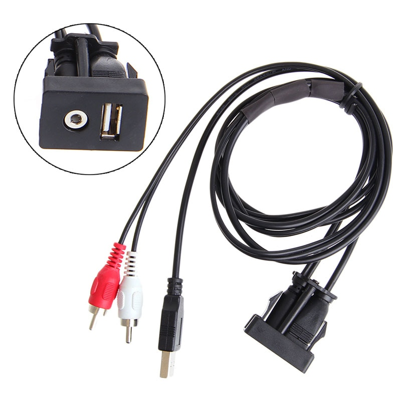 Car Boat Mot 1 Meters Length USB 2 RCA To 3.5mm Female Flush Mount AUX Stereo L4MD