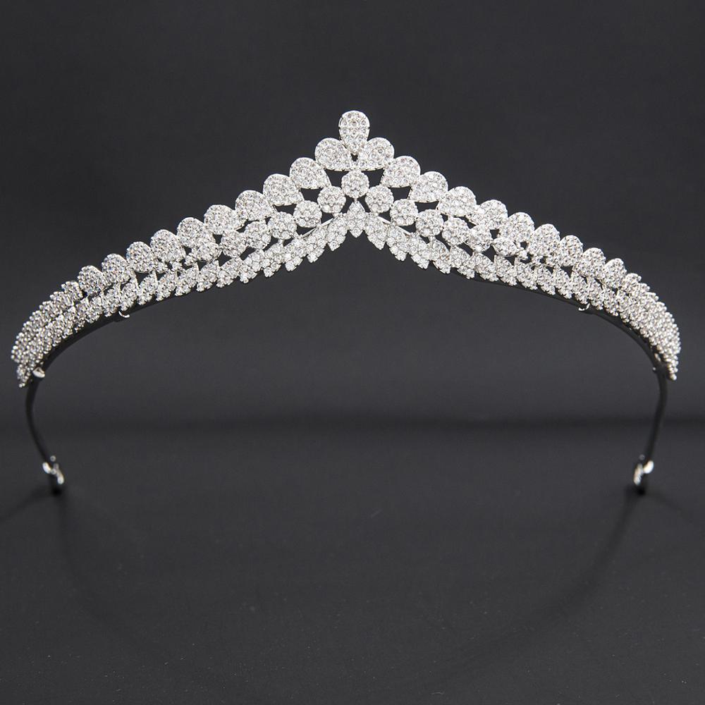 تاج الزفاف من الزركونيا المكعبة ، إكسسوارات الشعر ، مجوهرات ، زركونيا ، مستوى 5A ، CH10354