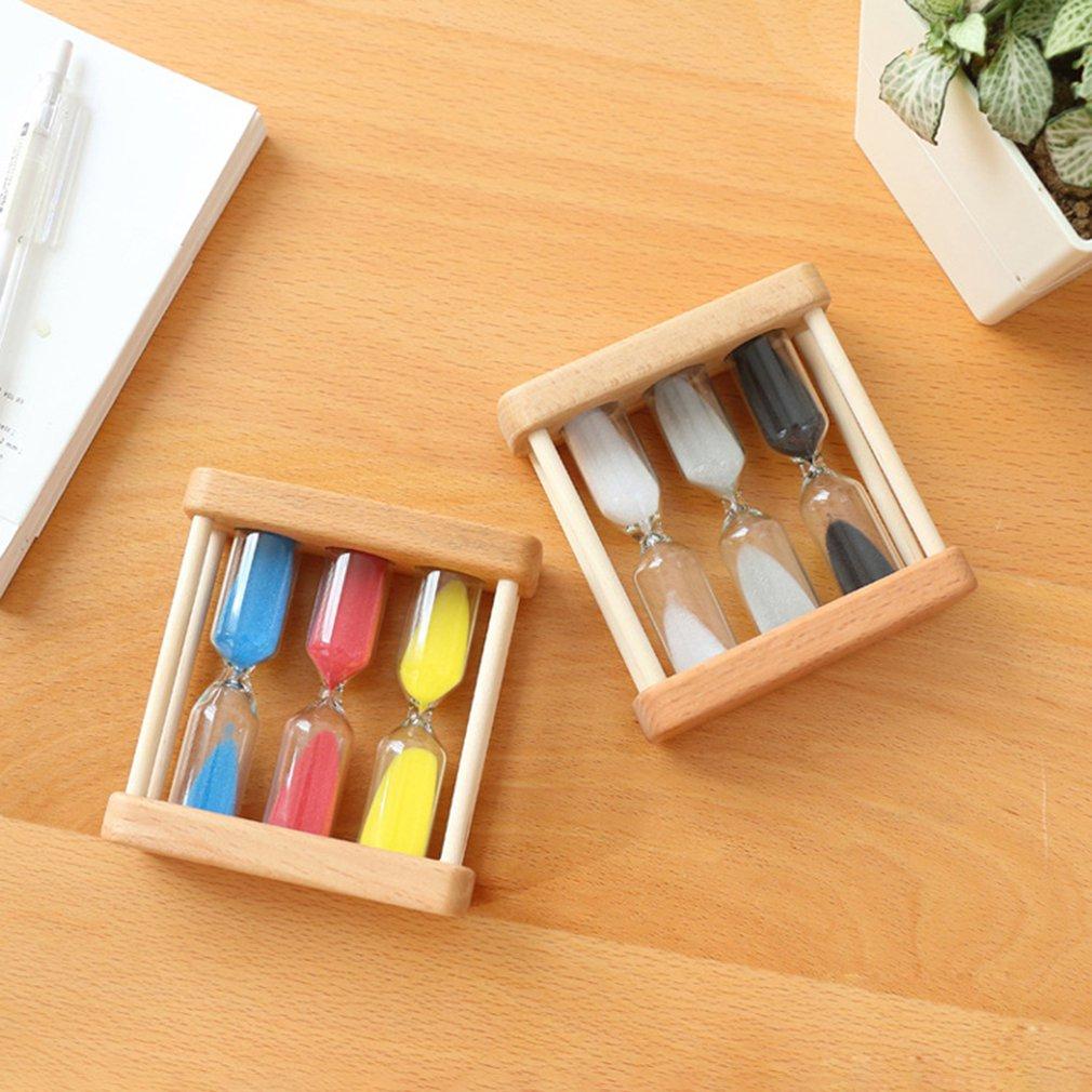 Креативные 1/3/5 минутные деревянные песочные стеклянные часы, часы с таймером, домашний декор, подарок для детей, простой стиль, хит!