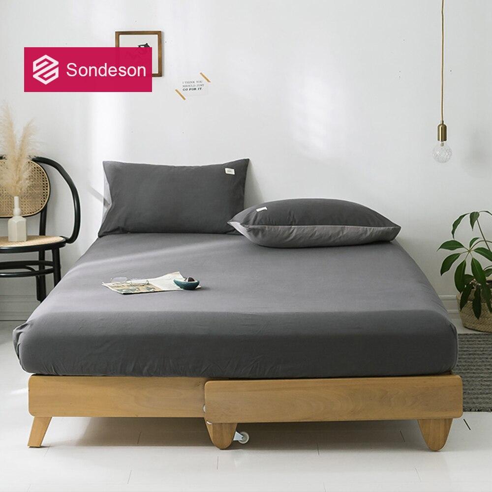 Sondeson-ملاءة منسوجة من القطن 100% للرجال ، مع شريط مطاطي ، وغطاء وسادة ، بطبعة ناعمة ، لسرير كوين كينج ، صحي ، عصري