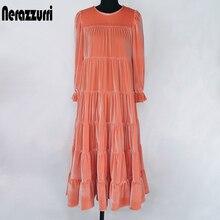 Nerazzurri midi vestido de veludo plissado feminino 3/4 puff manga preto branco vestidos longos para mulher 2020 roupas tamanhos grandes para mulher