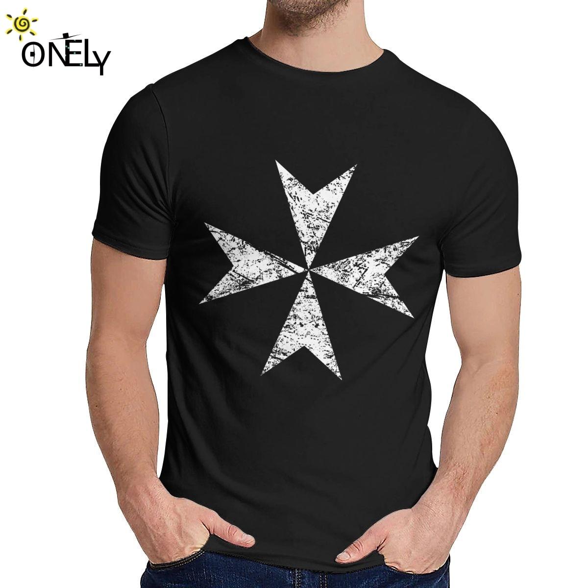 Cuello redondo, Caballeros Templarios, cruzado, camiseta cruzada maltés, camiseta Vintage para hombres, Camiseta de algodón, Envío Gratis