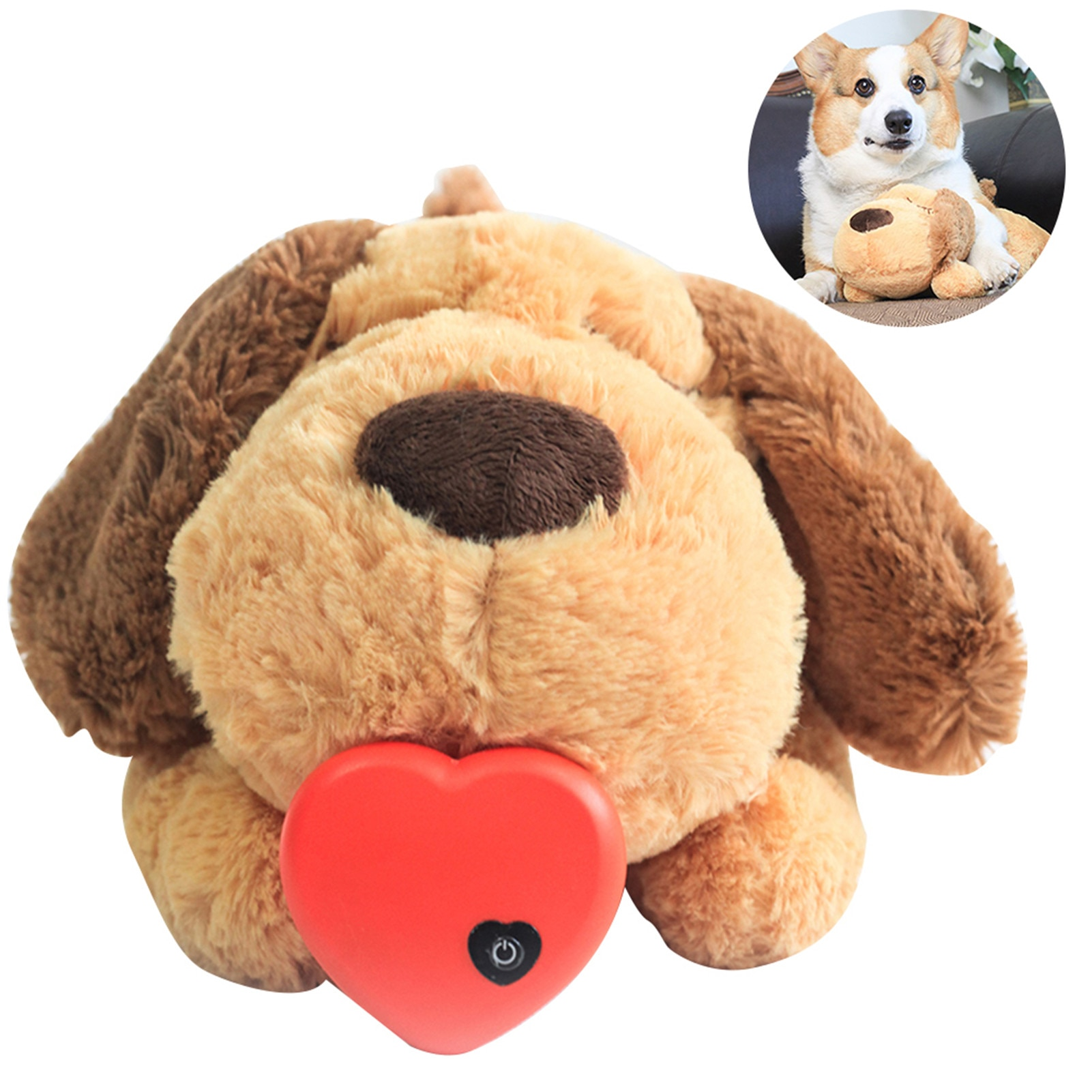 Plush Heartbeat Puppy Behavioral Training Toy Plush Pet Snuggle Anxiety Relief Sleep Aid Doll Durable Dog Chew Toys For Chewers