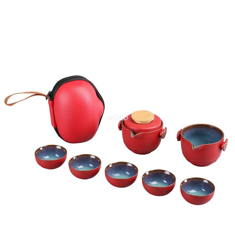 تخصيص الصينية الكونغ فو ملعقة صغيرة السيراميك المحمولة مجموعة براريد للشاي السفر Gaiwan أكواب شاي حفل الشاي فنجان الشاي غرامة اليد