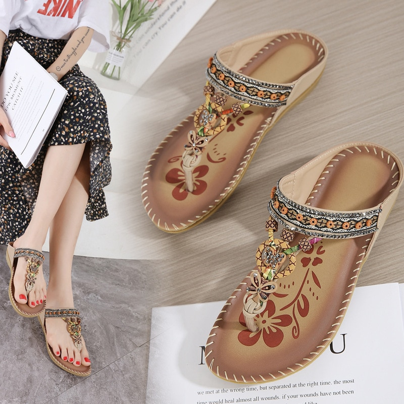 Womens Sandals Open Toe Buckle Comfortable Print Summer Walking Ladies Crystal Female Holidays Shoes Bohemian  Matching