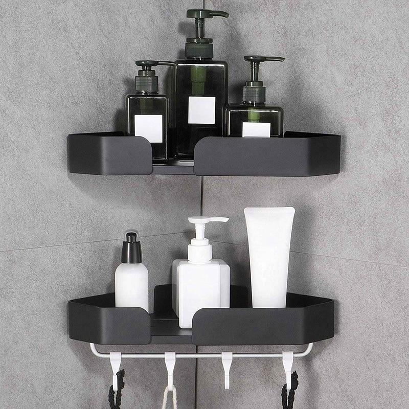 صندوق رف ، منظم ذاتي اللصق ، لا يضر بالحائط في حمامات المطبخ 2 قطعة أسود