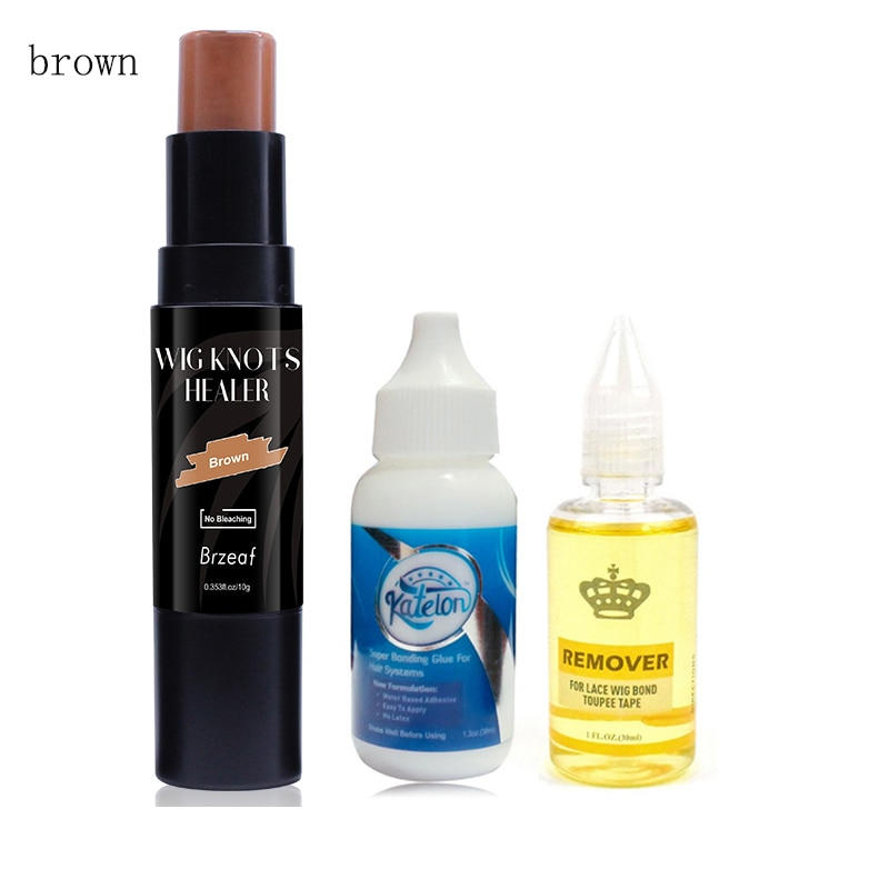Brown Lace Wig knots Healer Lace Tint Stick +1.3oz/38ML Lace Wig Hair Bonding Glue +30ML Remover for Lace wig Frontal Closure