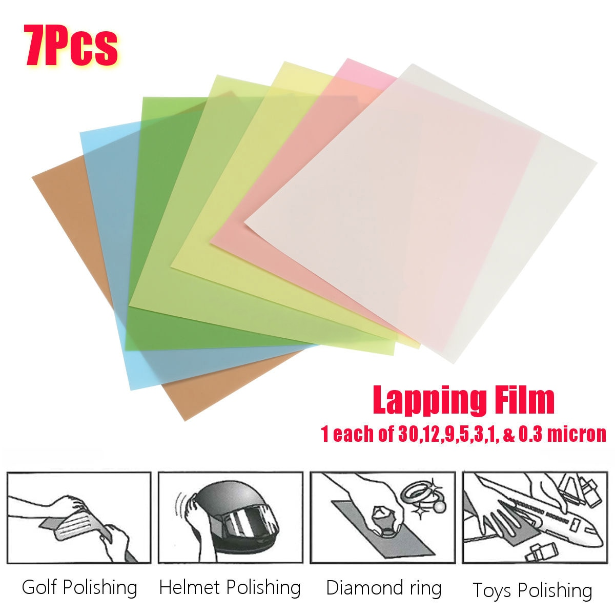 best 7x Fine Polishing Lapping Film Sheets Abrasive 1500~12000 grits for jewelry