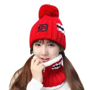 Skullies Beanies Women Knitted Hat Scarf Female Winter Hats For Women Bonnet Solid Balaclava Mask Feminino Beanie Hat Cap