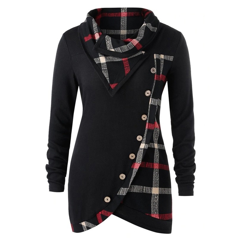 кофты и кардиганы 4# Woman Sweaters Женские Свитера Long Sleeve Plaid Turtleneck Tartan Tunic Pullover Tops Winter Clothes Women Sweaters Кофты