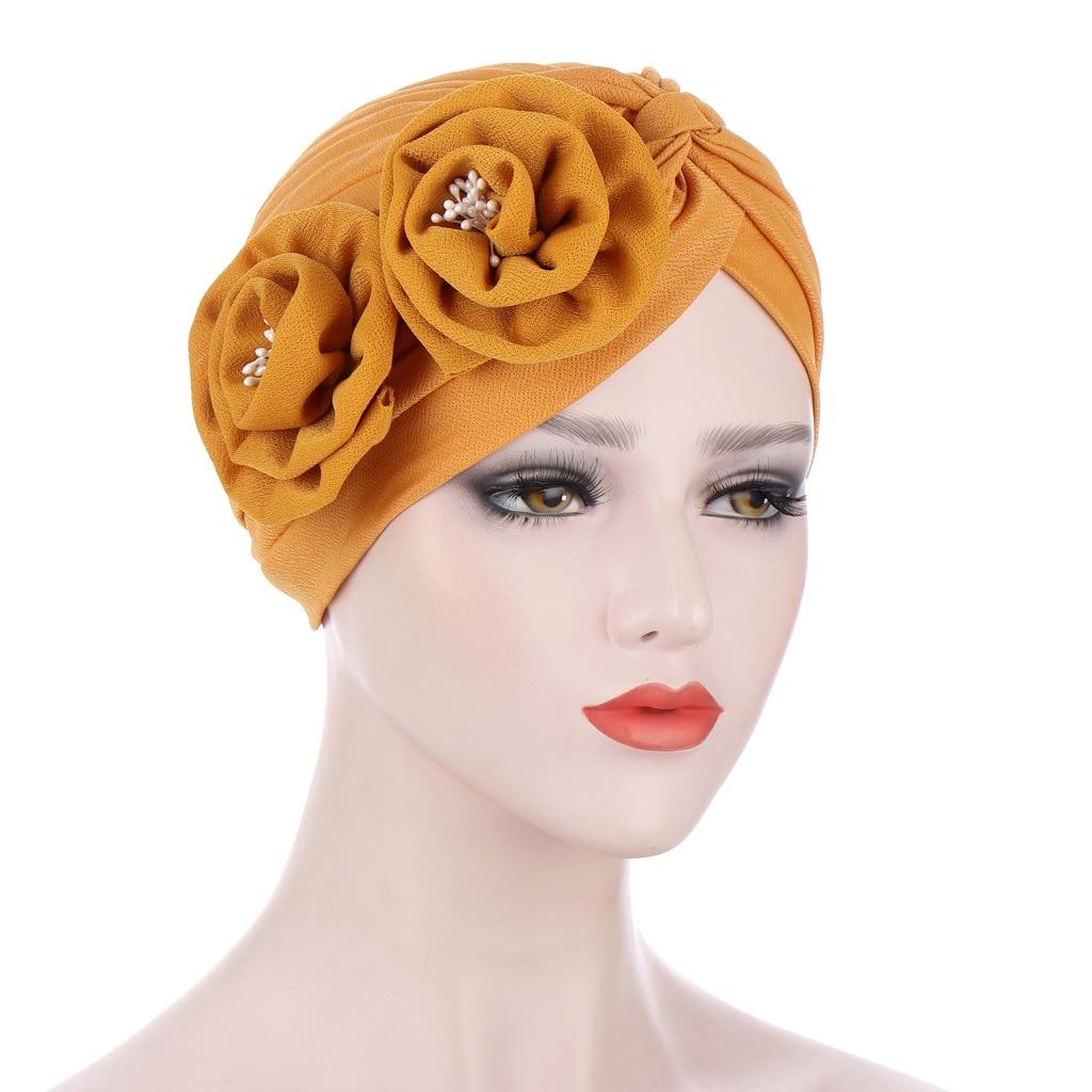 2021 Мода Для женщин шляпка с цветами Hijab шарф Мусульманский узел Твист Тюрбан Кепки s женские выпадения Волос Кепка Chemo Кепки арабские платки ...