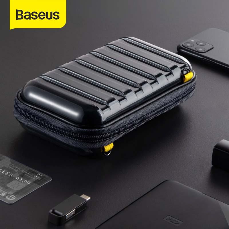 Baseus-حقيبة تخزين مقاومة للصدمات مع كابل USB وشاحن بطاقة الهاتف الخلوي وسماعات الأذن والكمبيوتر الشخصي وإكسسوارات السفر