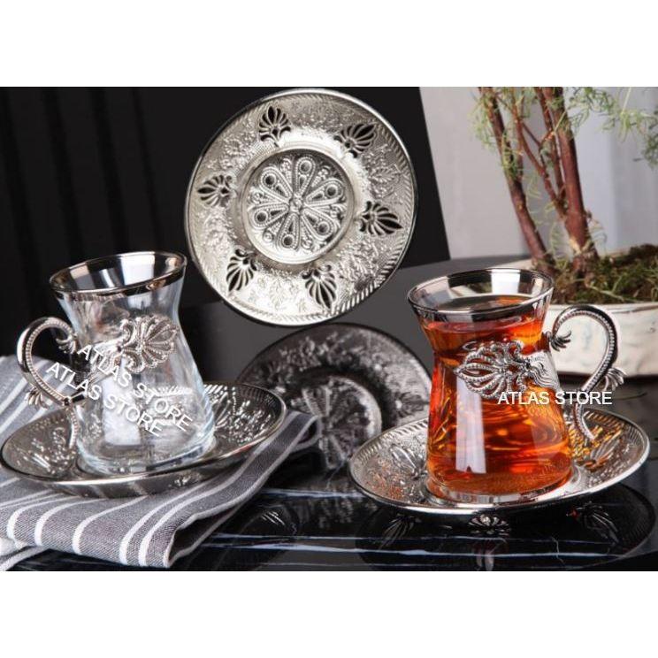 TURKISH TEA SİLVER PATTERN 6 PERSONALİTY TEA 18 PIECE TEA SET