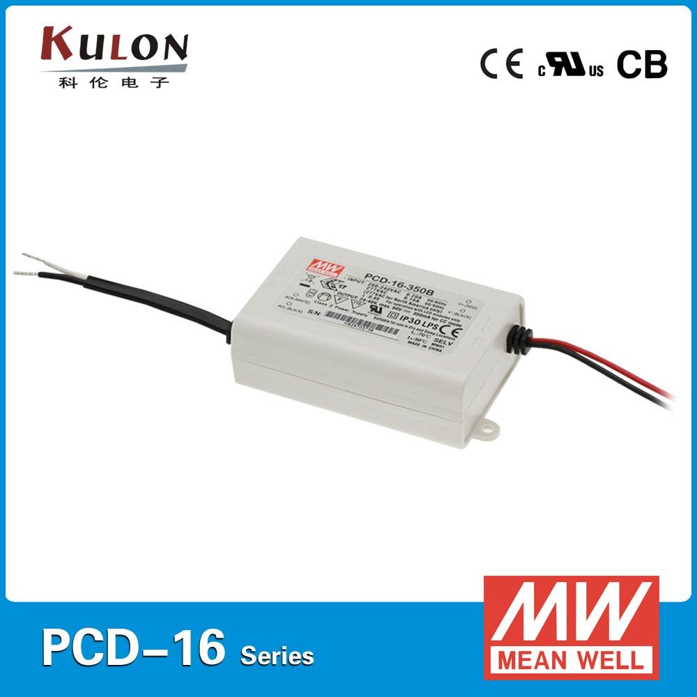Controlador LED MEAN WELL Original de 16W PCD-16 ca de corte de fase regulable 700mA 220VAC fuente de alimentación de entrada SMPS 350mA 1050mA 1400mA