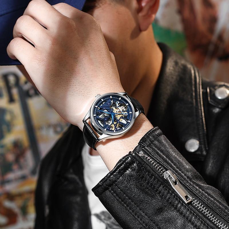 Ailang 2021 sports automatic watch men's hollow mechanical watch waterproof luminous hollow new business watch enlarge