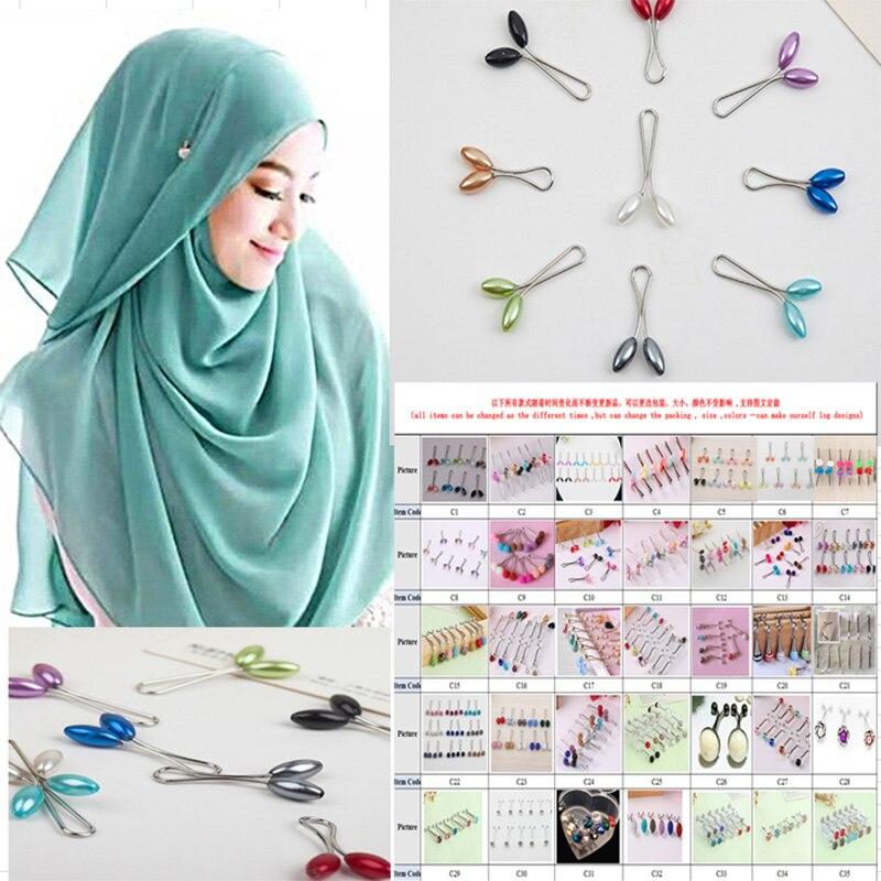 12 шт. мусульманский хиджаб зажим трендовые двойные модные броши и зажим для шарфа сплав брошь аксессуары для одежды женские броши