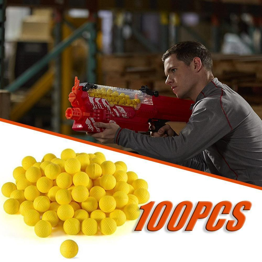 Balas de bola de espuma 100 Uds para pistola de juguete Rival, balas redondas de práctica al aire libre para arma de juguete para niños, accesorios Dropshipping