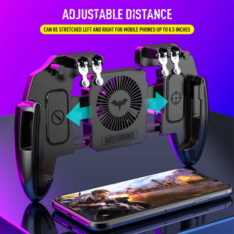 1PC Mobile Joystick Controller 6 Finger Operating Gamepad With Cooling Fan Turnover Button Gamepad For PUBG IOS Android Phone