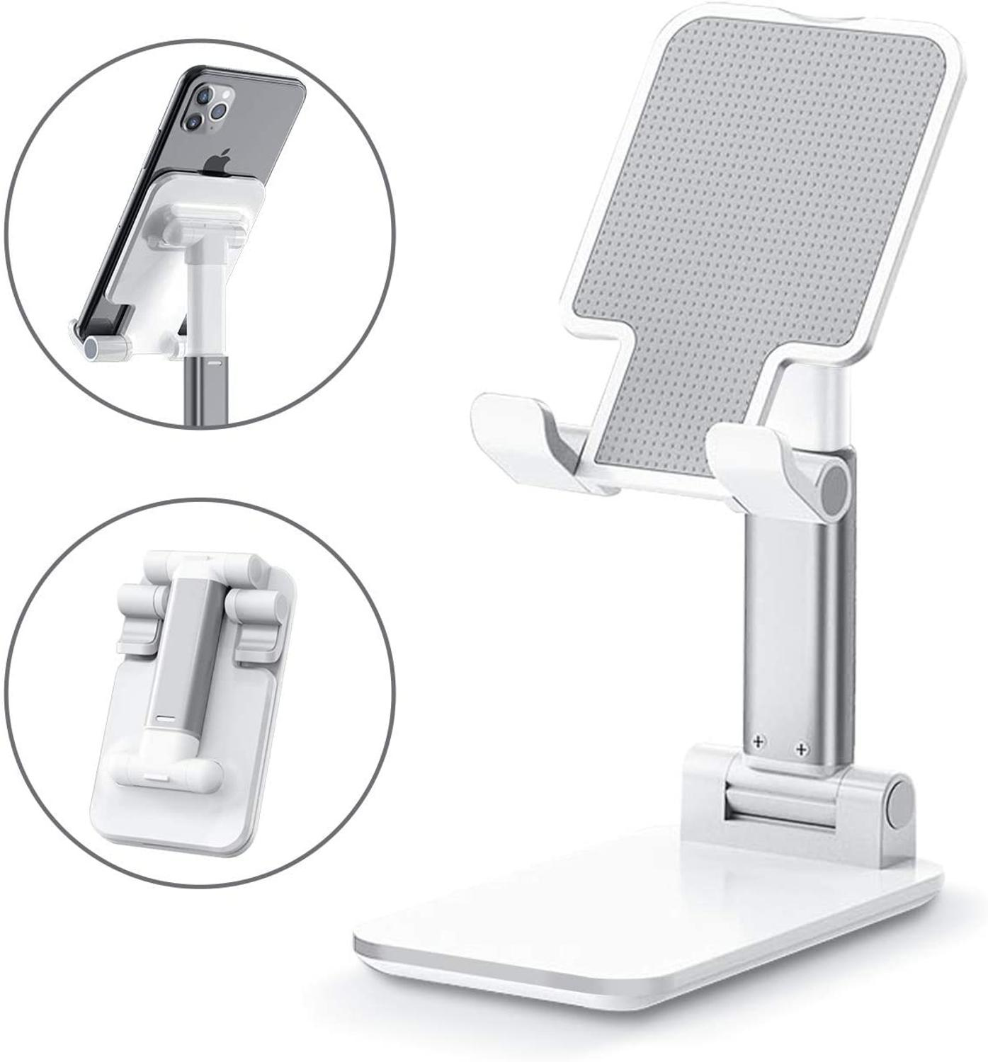 Adjustable Cell Phone Holder, Foldable Tablet Stand Mobile Phone Mount Compatible with All Smartphon