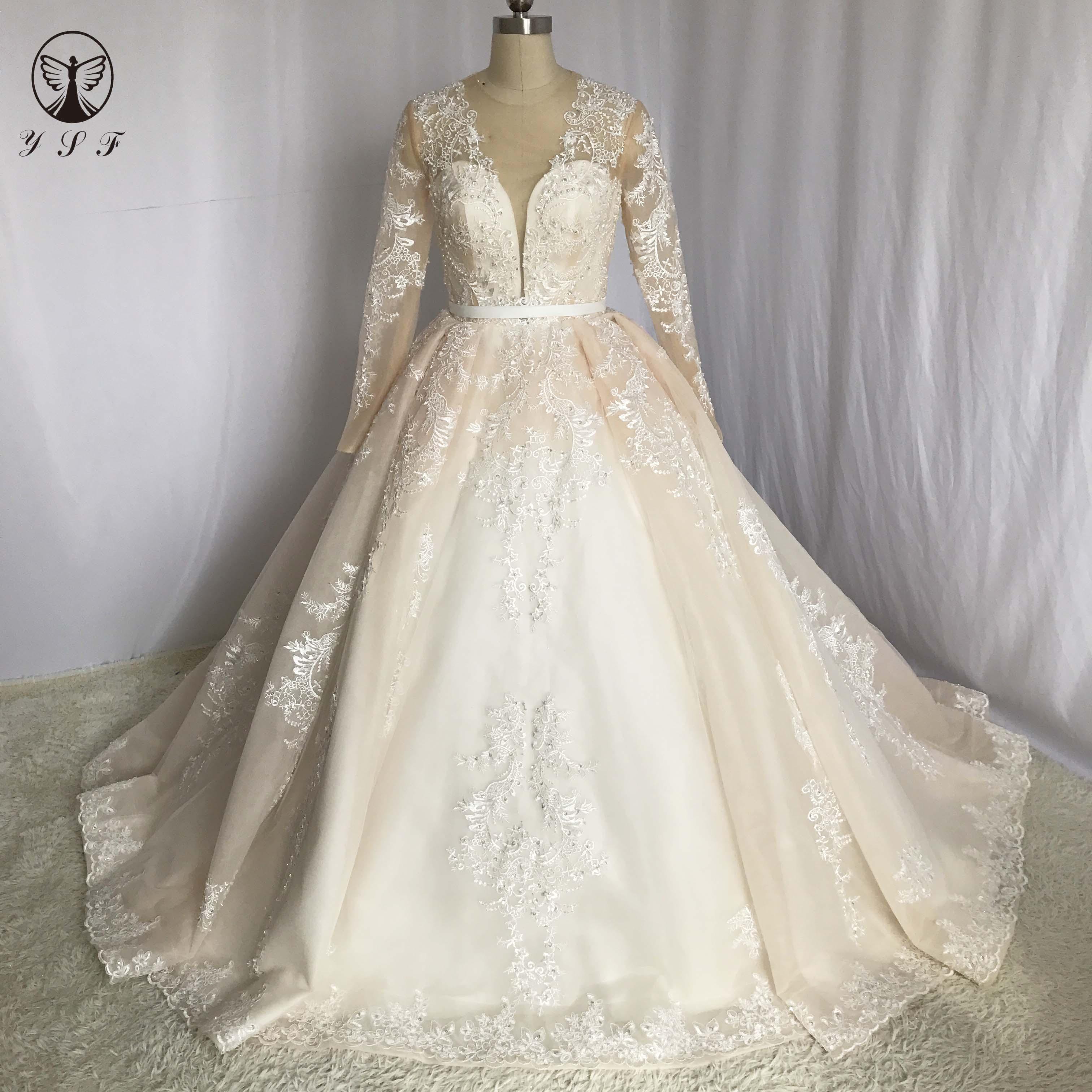 Vintage Vestidos De Novias O Neck Appliqued Beaded Pleated Ball Gown Long Sleeve Champagne Wedding Dresses
