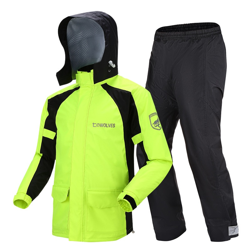 Cycling Hiking Outdoors Set Adult Raincoat Pants Hooded Motorcycle Men Rain Coat Fashion Pvc Capa Lluvia Rain Gear BW50YY