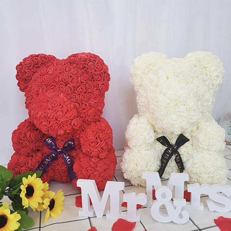 Drop Shipping 35cm Red Rose Bear Artificial Soap Rose Teddy Bear Eternal Rose Christmas Valentine Birthday Girl Friend Gift