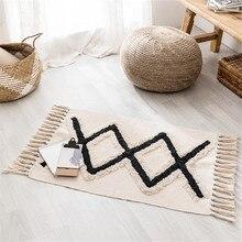 Wishstar-tapis en coton noir blanc   Tapis géométrique en lin, tapis de sol de Style nordique ethnique pour chambre à coucher, tapis à pompon tissé à la main