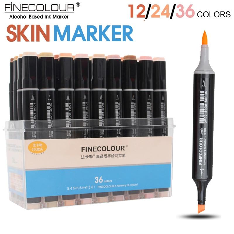 FINECOLOUR 12/24/36/Color de piel Color cepillo de marcador Set doble cabeza a base de Alcohol rotulador para bocetos de dibujos animados diseño de Anime suministros