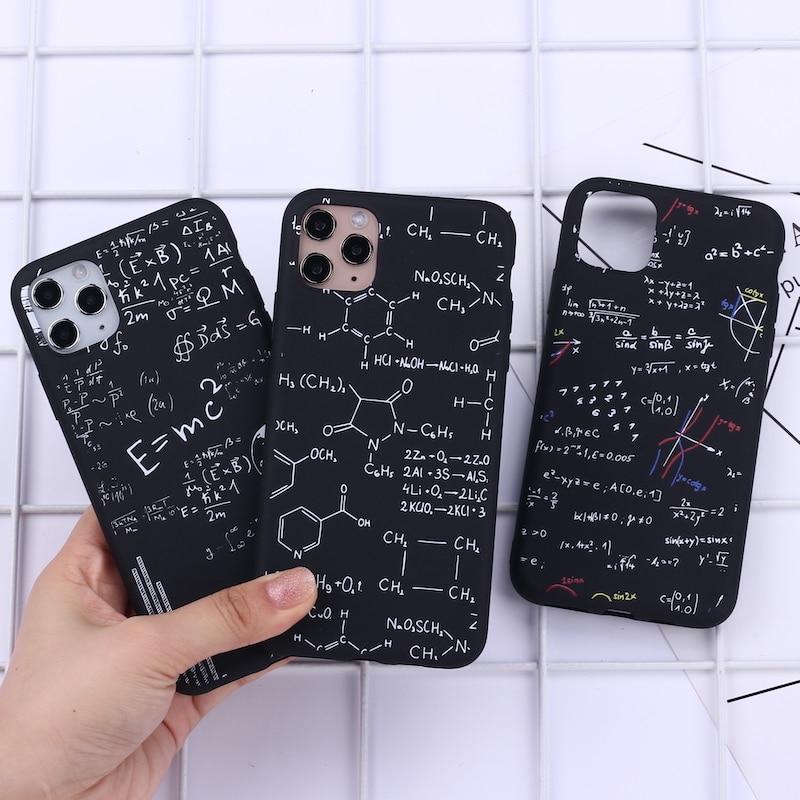 Capa de celular de matemática química para iphone, física para iphone 11 pro max x xs xr max 7 8 7plus 8plus capa de silicone macio 6s se