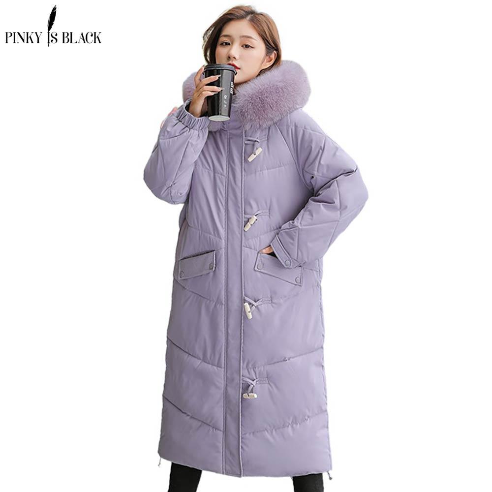 Женские зимние длинные парки PinkyIsBlack, модные толстые меховые пальто с капюшоном, женские элегантные собранные зимние куртки с хлопковой под...