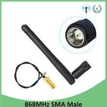 10pcs 868MHz 915MHz Antenna 3dbi SMA Male Connector GSM 915 MHz 868 MHz antena antenne +21cm RP-SMA/u.FL Pigtail Cable
