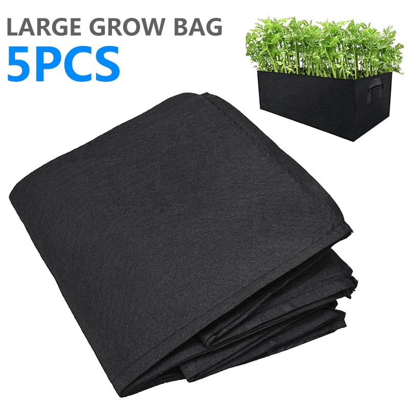 Maceta de tela de 5 uds, bolsa para cultivo de plantas, bolsa para jardín, raíz de fresa, maceta reutilizable para verduras transpirable