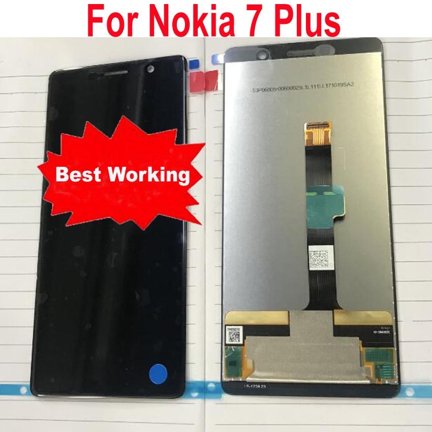 محول رقمي بشاشة تعمل باللمس لجهاز Nokia 7 Plus ، مستشعر تم اختباره بنسبة 100% درجة ، TA-1046 TA-1055 TA-1062