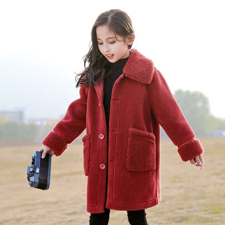 2020 New Autumn Winter Children Clothing Faux Fur Coat Kids Baby Girl Casual Thicker Warm Sheep Fur Wool Jackets Outerwear W639