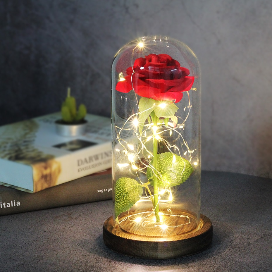 Artificial flowers Eternal Rose LED Light Beauty The Beast In Glass Cover Wedding Home Decor For Birthday Mother Day Gift недорого