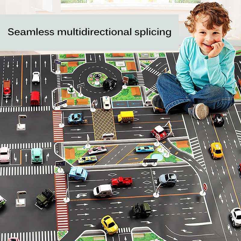 NEW 130*100CM Children DIY Car Parking Map Toys With Cars Playing Mats Kids City Lot Road Rug