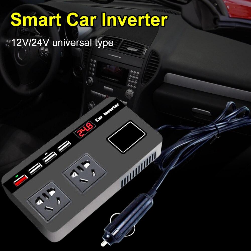 Автомобильный инвертор для быстрой зарядки, 200 Вт, 12/24 В постоянного тока до 220 В переменного тока, с цифровым дисплеем, USB QC3.0, автомобильный а...