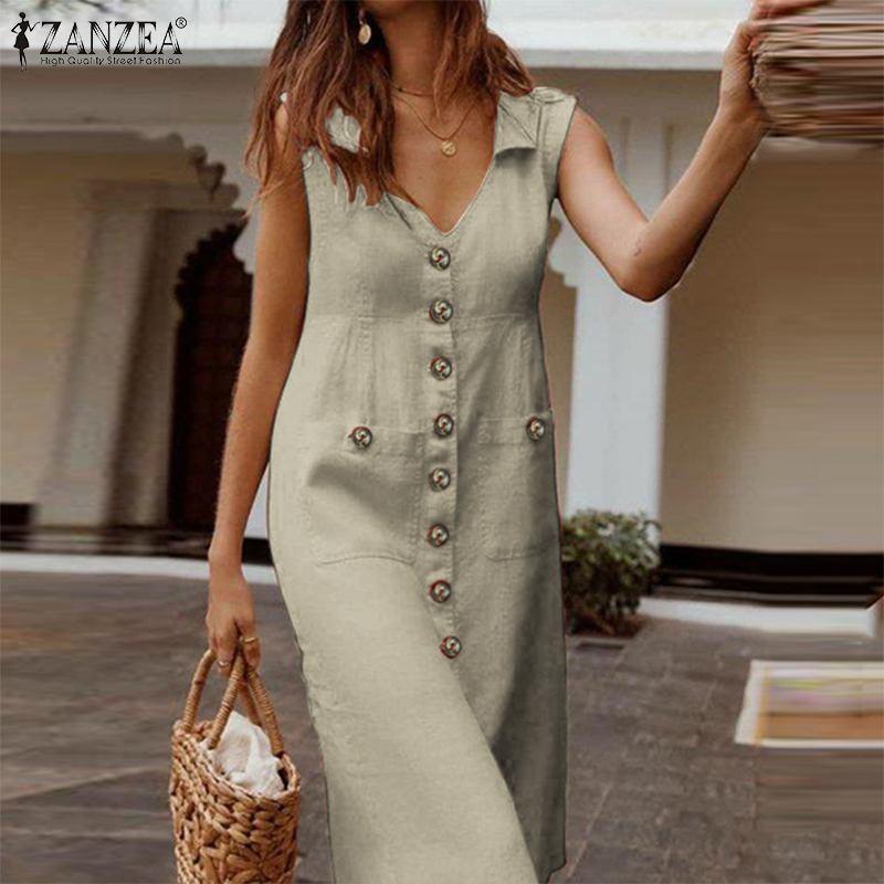 Women Solid Sleeveless Shirts Dresse ZANZEA 2020 Summer Fashion Sundress Elegant V Neck Work Officer Cotton Vestidos Femme Robe
