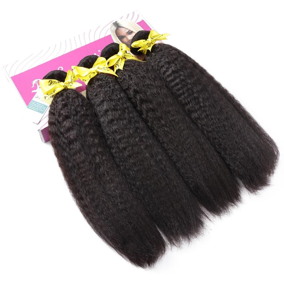 Rosbeleza kinky reta 8 - 28 30 Polegada 3 4 pacotes cabelo remy brasileiro 100% extensões do cabelo humano duplo desenhado