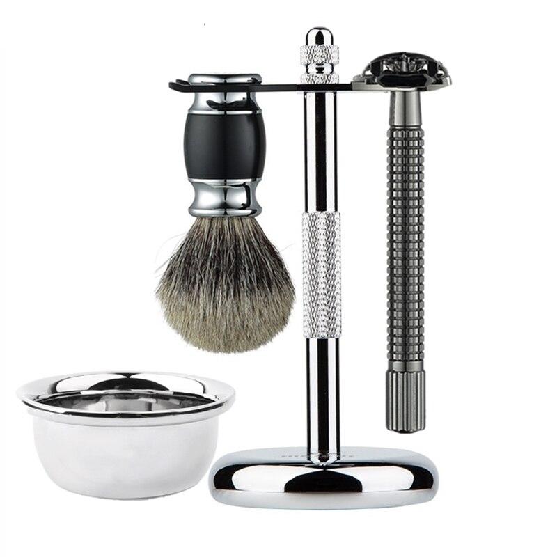 4 em 1 profissional conjunto de barbear homens barba navalha de barbear escova tigela