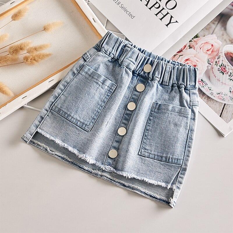 Рубашка для девочек, новинка 2020, летняя Модная Джинсовая юбка в Корейском стиле, универсальная детская эластичная юбка на бедрах Юбки    АлиЭкспресс