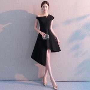 Evening Dresses irregular Elegant black slim Formal Evening Gown Party Dress Robe vestidos de fiesta de noche A-line Formal Gown