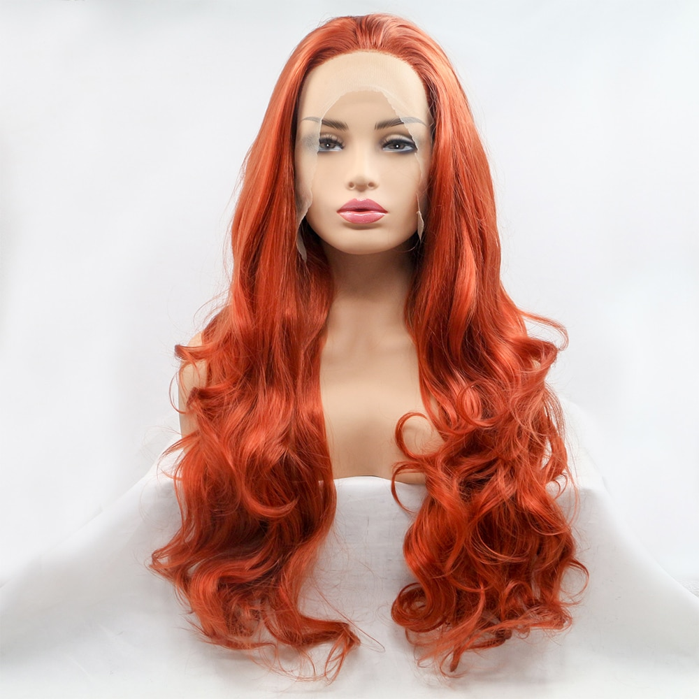 BH-J05 Wigs synthetic hair ombre Silky lace front synthetic wigs Red Hair Human Hair Remy Indian Full Lace Wigs for Women