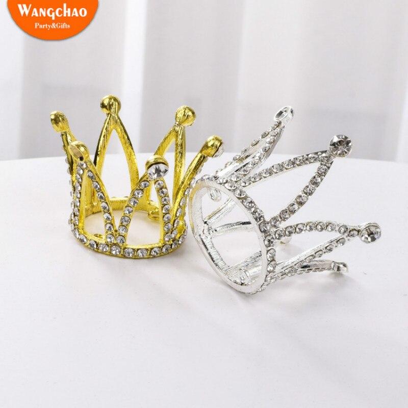 1 Uds Mini corona para pastel Topper decoración de pastel de boda Topper para tarta de feliz cumpleaños corona decoración fiesta suministros de cumpleaños de lujo