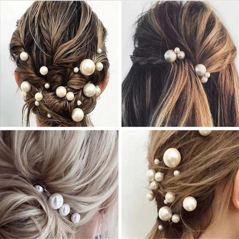 Fashion Women Simulated Pearl Hairpins Metal Barrette Clip Wedding Bridal Tiara Hair Accessories Wed